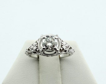 Vintage Edwardian 18K White Gold Filigree Ring With Heart Accents And A Dazzling .65 Carat Round Brilliant Diamond  #HEARTS-GR2