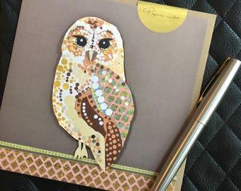 Tawny owl, nature card, wildlife card, birds