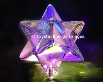 Merkabah Crystal Photo, Healing Crystals, Star Crystal Reiki Energy, Divine Light, Metaphysical Purple Crystal, Meditation Tool, Spiritual