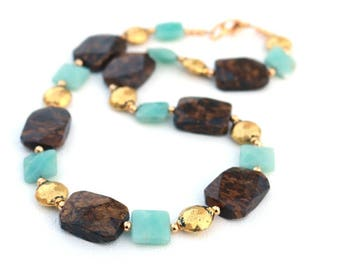 Brown necklace for wife, amazonite, gift for mom, mothers day gift