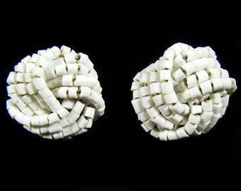 Vintage 80's White Bead Cluster Pierced Earrings