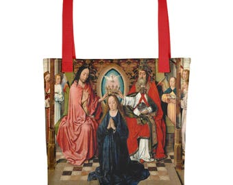 Religious Tote bag - The Coronation of the Virgin Mary by the Holy Trinity - catholic bags serie by TerryTiles