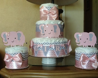 Girl diaper cake set/ pink and grey chevron elephant diaper cakes/Baby shower centerpieces/ Elephant baby shower/ pink and grey diaper cakes
