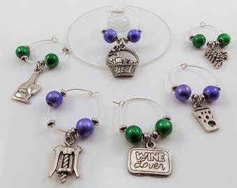 Wine Glass Charms Wine Lover Theme Set of 6 Handcrafted