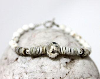 White Howlite, Mother Of Pearl Beads & Bali Silver Bead bracelet/ Gemstone bracelet/ White Boho Bracelet/