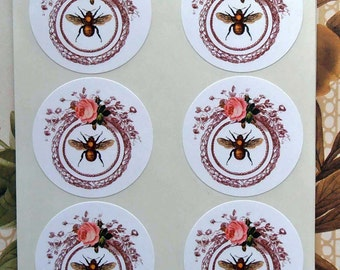 Stickers Bee Wreath Vintage Style Envelope Seals Rose Party Favor Treat Bag Sticker SP003