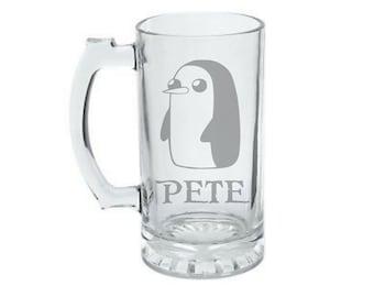 Gunter Mug - Adventure Time Inspired Mug - Personalized Gunter the Penguin Mug - Etched Adventure Time Mug - Gunter  Beer Mug