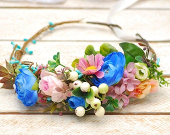 Blue pink flower crown Wedding flower crown Flower halo Bridal floral crown Bridal headpiece Flower hair wreath  Floral crown Rustic wedding