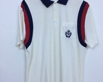 Vintage 90s Ralph Lauren Tennis Polo Shirt Size L Striped