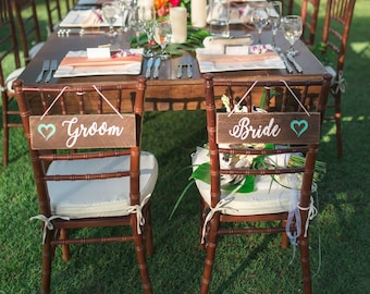 Bride and Groom. Chair signs. Bride groom signs. Wedding Chair Signs. Wedding signs wood. Mr and Mrs.  Better together. Rustic chair signs.