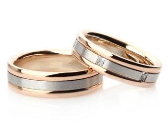 Two tone wedding bands. Wedding bands gold. Matching wedding bands. Wedding bands his and hers. Wedding rings. Wedding band set.