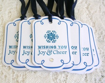 Christmas Tags - Joy and Cheer Large Blue Christmas Gift Tags - Set of 8 Rhinestone Accent Holiday Tags