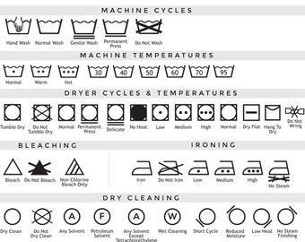 Care label clip art laundry symbols clipart - textile care laundry icons washing drying dry clean bleach washing guide commercial use