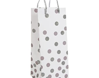 Wine Gift Bag, Silver Polka Dot Wine Bag, Silver Glitter Dot Wine Gift Bag, Wine Bottle Gift Bag, Meri Meri, Confetti Bottle Bag
