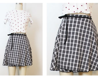 Black White Grunge Wrap Mini Skirt 90s Inspired OOAK