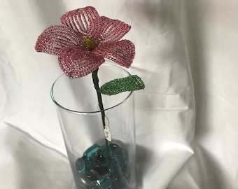 French beaded pink daisy
