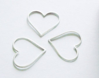3 Pieces, Thin Large Heart Links, Sterling Silver .925, 20x18mm, SL135