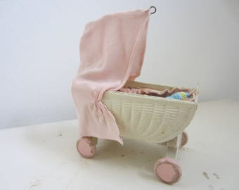 Vintage Dollhouse Crib On Wheels With Canopy  By Korbi/ Karl Schreiter