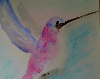 Colibri aquarelle abstraite peinture murale Decor Bureau d'origine, entreprise