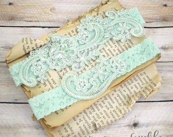 Wedding Garter Set,Mint Green Pearl Beaded Lace Wedding Garter Set, Ivory Lace Garter Set, Lace Wedding Garter Belt, Style No. GT-53