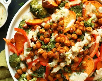 Super Healthy, Satisfiying & Delicious Roasted Broccoli, Sweet Potatoes, Chickpea Salad