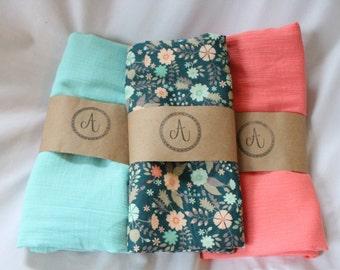 Gauze Swaddle Blankets, Dark Teal Floral, Aqua Swaddle, Coral Swaddle Blanket, Muslin Swaddle Blanket, Handmade Swaddle Blanket