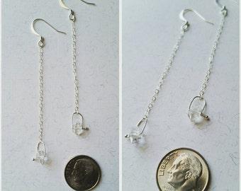 Herkimer diamond sterling silver swing dangle earrings