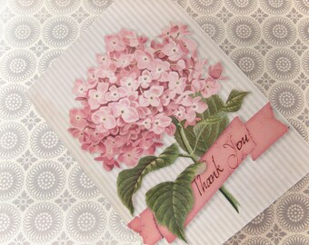 Pink Hydrangea Flower - Blank 4x5.5 Thank You Card, Single or Set of 4 - Pink Cream Grey - Cottage Shabby Chic Vintage