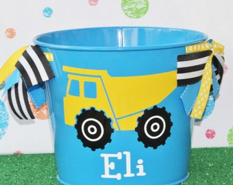 Monogram Dump Truck Tractor Pail Personalized Gift Basket Easter Baby Shower Gift Personalized Baby Boy Birthday Gift Easter Basket Farmer