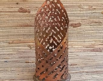 Hand Made Pierced Copper Candle Holder Signed