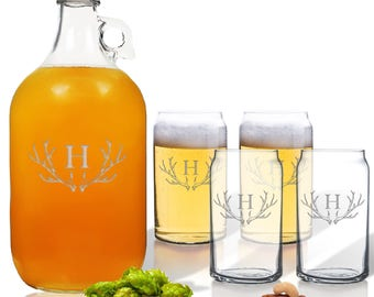 Growler 64 oz. & Beer Glasses 16 oz (Set of 4) Personalized