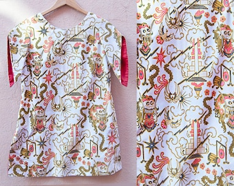 70s handmade white with orange, gold, & black dragon print tunic top with contrast red lined short kimono sleeves