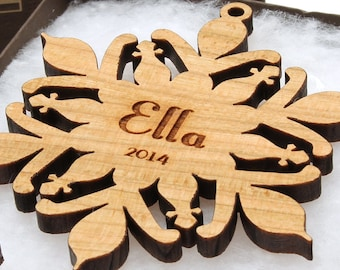 Personalized Snowflake Ornament Gift Box Set - Sustainable Harvest Wisconsin Wood . Timber Green Woods