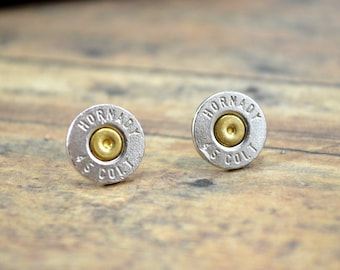Bullet Earrings Shell Stud Earrings ~ Hornady 45 Colt ~ NICKEL PLATED ~ Bullet Casings Post/Stud Earrings