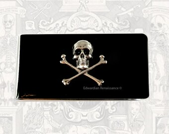 Money Clip Steampunk Skull and Cross Bones Gothic Inspired Inlaid in Hand Painted Black Enamel Custom Colors and Personalized Option