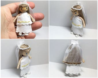 Bride or First Communion Bendy Doll by Princess Nimble-Thimble, Wedding, Cake Topper, Christmas ornament, Waldorf bendable doll, small doll