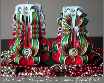 Christmas gift - Christmas candle - Carved candle -  Gift ideas - Red green candle