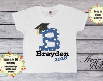 Boys Graduation Tee; 2018 Graduation Toddler Tee; Boys Graduate Youth T-Shirt; Personalized Toddlers Graduation T Shirt: G1609