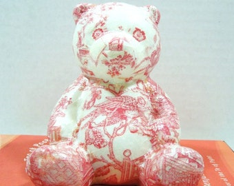 Pretty in Pink Chinoiserie Bear Bank-Nursery Decor-French Country-Baby Shower Gift