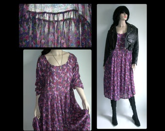 On Hold~N/w/tag Vintage Original India Sheer Gauze Floral Grunge Festival Hand Print Dress ~Size US Womens Size Medium/Large~ see Dimensions