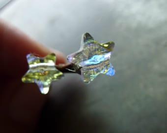 8mm Star AB Clear Swarovski Crystal Bobby Pins - 1 Pair