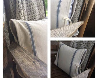 Ticking Stripe and Grain Sack Pillow Cover