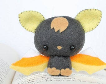PDF Pattern - Felt Candy Corn Bat Nogget Plush