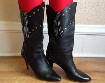 Tassel 80's Cowgirl High Heeled Boots Size 7.5