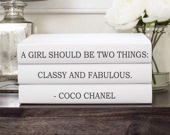 Chanel, Chanel Books, Coco Chanel Quote Decorative Books, Classy and Fabulous, Chanel Decor, Friend Gift, Book Lover Gift, Housewarming Gift