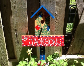 Patriotic birdhouse with  family name garden stake, lawn ornament yard stake