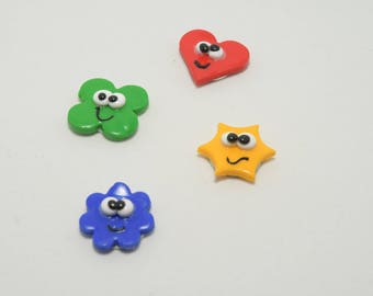 Set of four colorful magnets