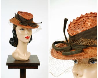 Vintage 1940s Hat - Charming Betty Co-Ed Copper Colored Straw Tilt with Chocolate Grostain and Veiling New York Creation Label