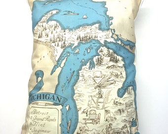 Vintage 1931 Michigan Map Pillow