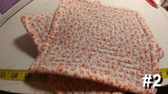 CHARITY (White with red flowers HOT PAD set of 2 #2)